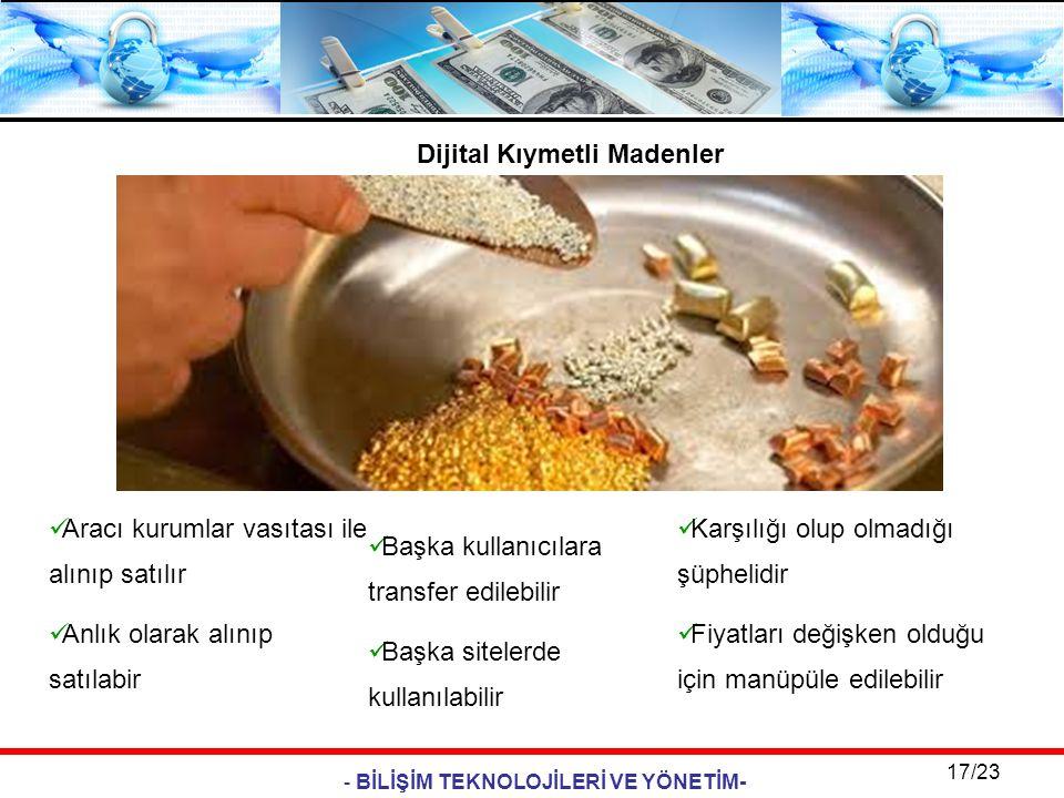 - BİLİŞİM TEKNOLOJİLERİ VE YÖNETİM- 17/23 Dijital Kıymetli Madenler  Aracı kurumlar vasıtası ile alınıp satılır  Anlık olarak alınıp satılabir  Baş