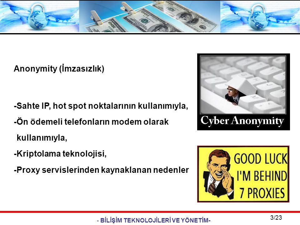 - BİLİŞİM TEKNOLOJİLERİ VE YÖNETİM- 3/23 Anonymity (İmzasızlık) -Sahte IP, hot spot noktalarının kullanımıyla, -Ön ödemeli telefonların modem olarak k