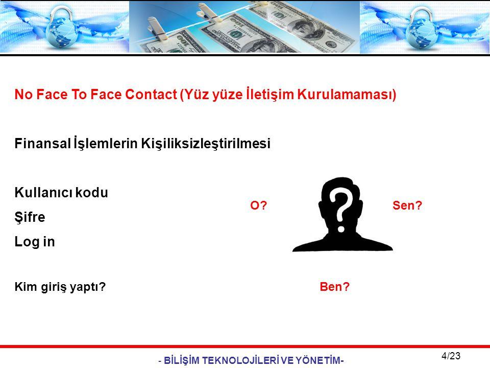 - BİLİŞİM TEKNOLOJİLERİ VE YÖNETİM- 4/23 No Face To Face Contact (Yüz yüze İletişim Kurulamaması) Finansal İşlemlerin Kişiliksizleştirilmesi Kullanıcı