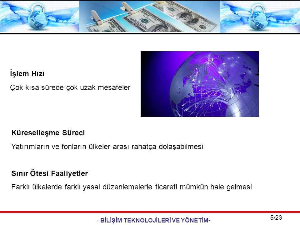 - BİLİŞİM TEKNOLOJİLERİ VE YÖNETİM- 5/23 İşlem Hızı Çok kısa sürede çok uzak mesafeler Küreselleşme Süreci Yatırımların ve fonların ülkeler arası raha
