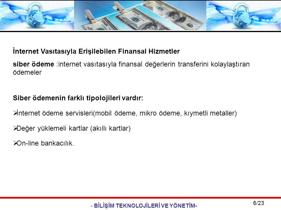 - BİLİŞİM TEKNOLOJİLERİ VE YÖNETİM- 6/23 İnternet Vasıtasıyla Erişilebilen Finansal Hizmetler siber ödeme :internet vasıtasıyla finansal değerlerin tr