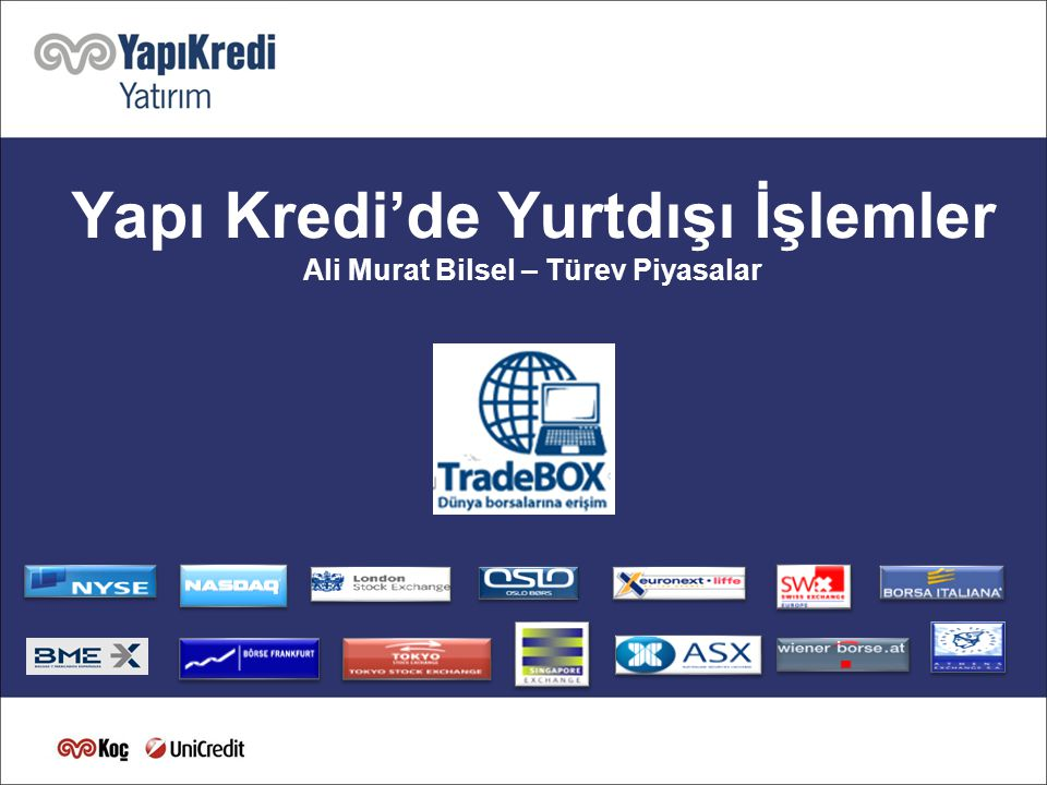 111 Yapı Kredi'de Yurtdışı İşlemler Ali Murat Bilsel – Türev Piyasalar