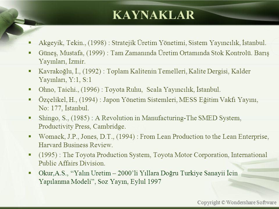Copyright © Wondershare Software KAYNAKLAR  Akgeyik, Tekin., (1998) : Stratejik Üretim Yönetimi, Sistem Yayıncılık, İstanbul.  Güneş, Mustafa, (1999