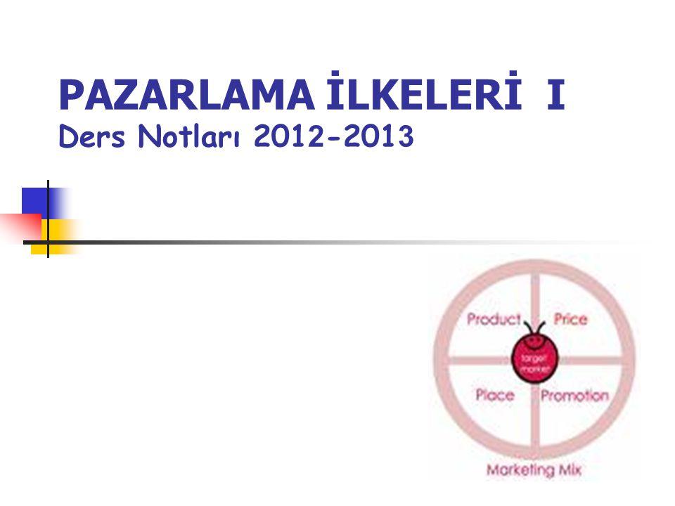 PAZARLAMA İLKELERİ I Ders Notları 201 2 -201 3