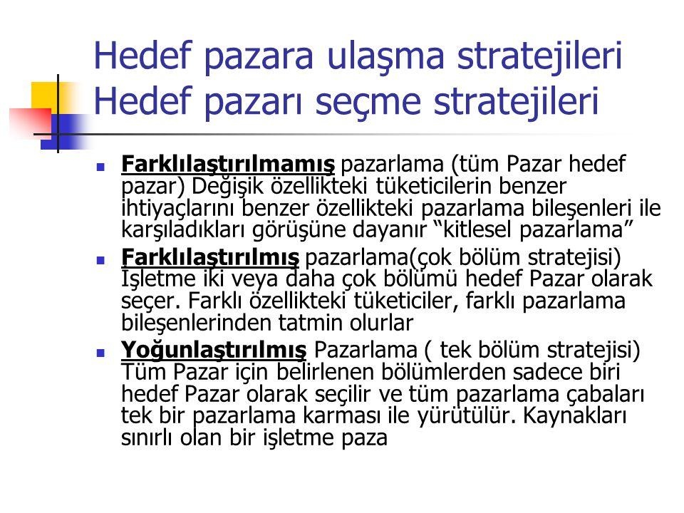 Hedef pazara ulaşma stratejileri Hedef pazarı seçme stratejileri  Farklılaştırılmamış pazarlama (tüm Pazar hedef pazar) Değişik özellikteki tüketicil