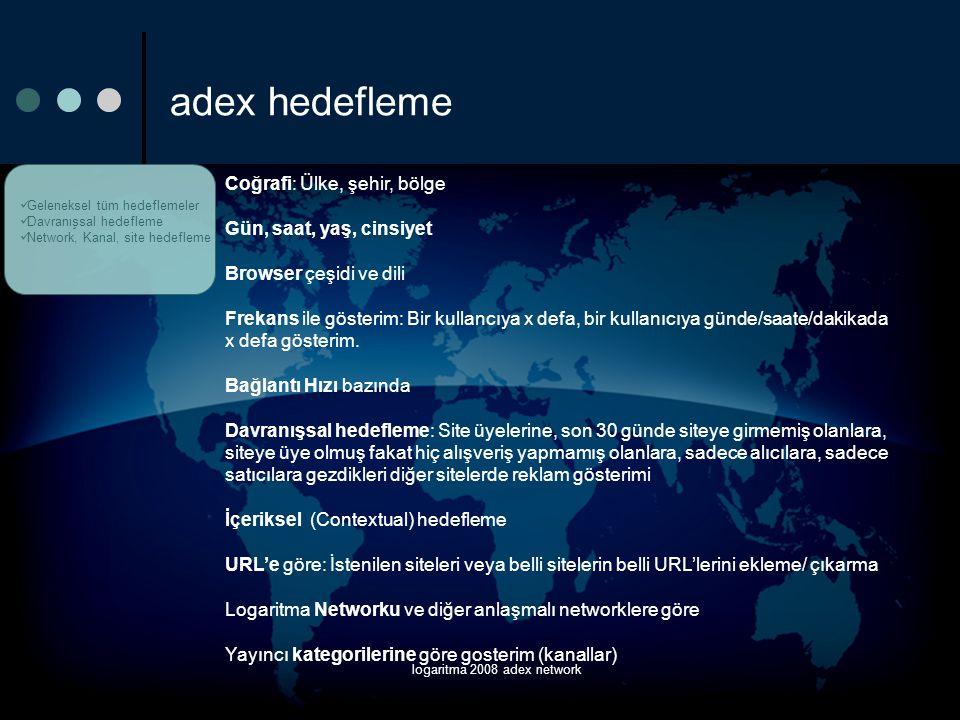 logaritma 2008 adex network adex hedefleme  Geleneksel tüm hedeflemeler  Davranışsal hedefleme  Network, Kanal, site hedefleme Coğrafi: Ülke, şehir