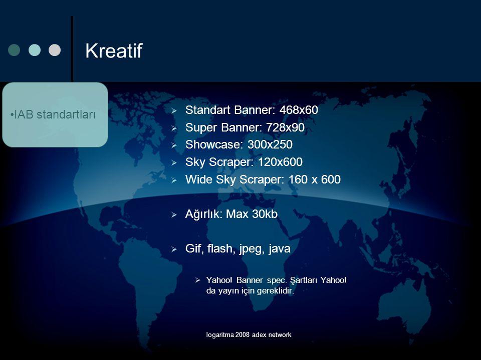 logaritma 2008 adex network Kreatif  Standart Banner: 468x60  Super Banner: 728x90  Showcase: 300x250  Sky Scraper: 120x600  Wide Sky Scraper: 16