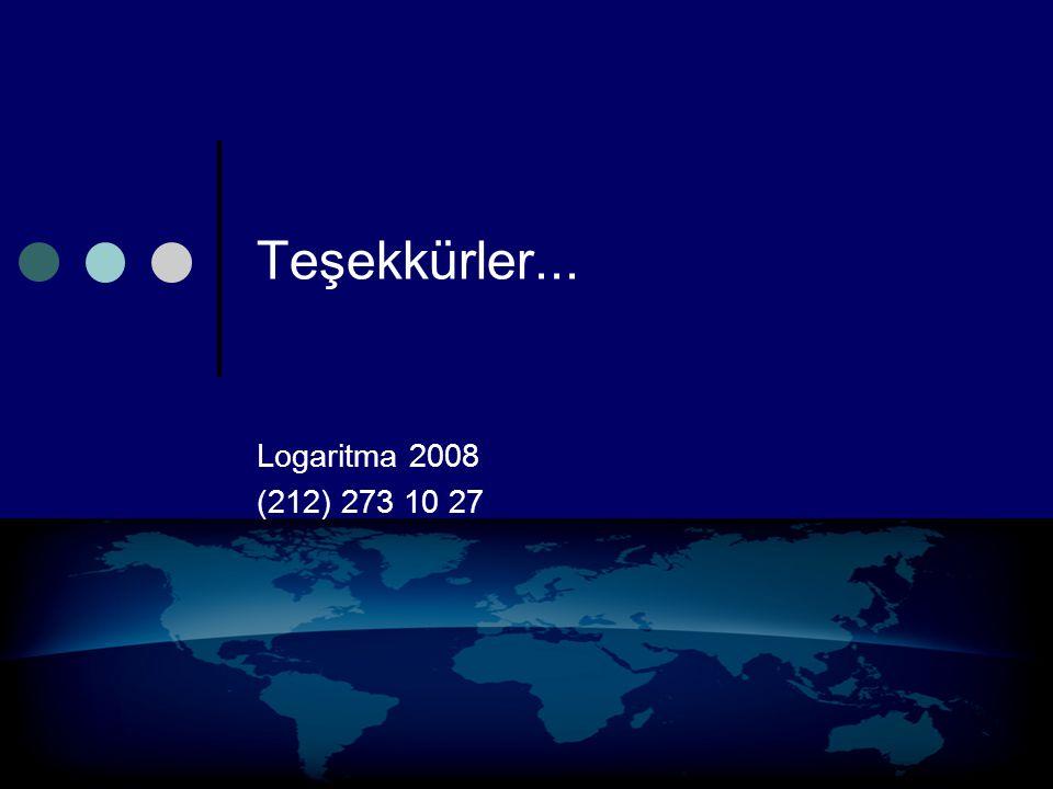 Teşekkürler... Logaritma 2008 (212) 273 10 27