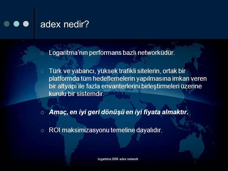 logaritma 2008 adex network adex nedir? Logaritma'nın performans bazlı networküdür. Türk ve yabancı, yüksek trafikli sitelerin, ortak bir platformda t