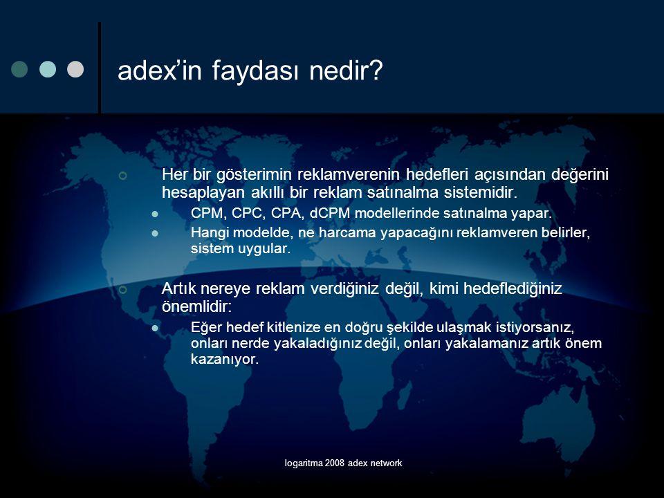 logaritma 2008 adex network Raporlama  Impressions;  Clicks;  Conversions;  Spent;  eCPM;  eCPC;  eCPA;  ROI değerleri,  Kampanya, kreatif, reklam boyutu ve yayın ülkesine göre gruplanabilir.