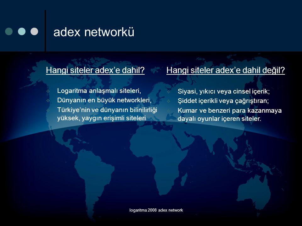logaritma 2008 adex network adex networkü Hangi siteler adex'e dahil?  Logaritma anlaşmalı siteleri,  Dünyanın en büyük networkleri,  Türkiye'nin v