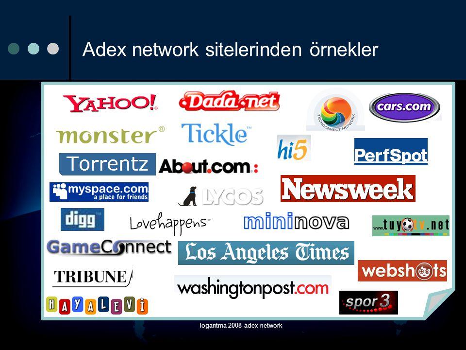 logaritma 2008 adex network adex anlaşmalı networkleri Media Shakers MediosOne Meta Network Oridian PerfSpot Redux Media Inc.