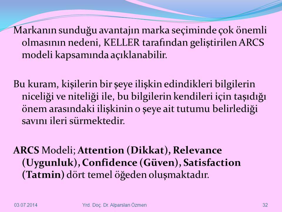 Markanın sunduğu avantajın marka seçiminde çok önemli olmasının nedeni, KELLER tarafından geliştirilen ARCS modeli kapsamında açıklanabilir. Bu kuram,