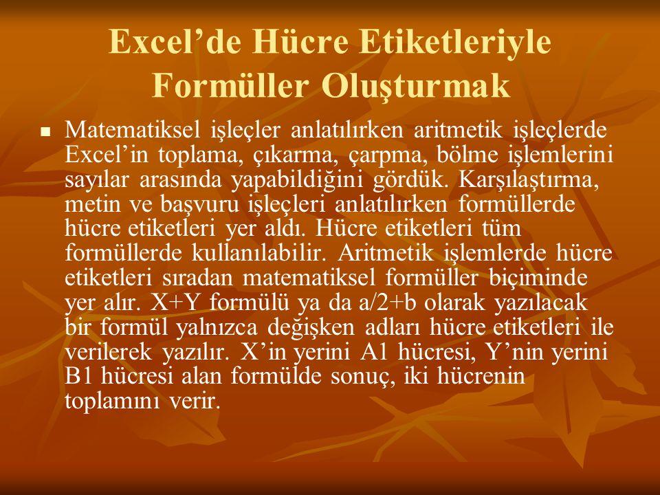 Excel'de Hücre Etiketleriyle Formüller Oluşturmak   Matematiksel işleçler anlatılırken aritmetik işleçlerde Excel'in toplama, çıkarma, çarpma, bölme