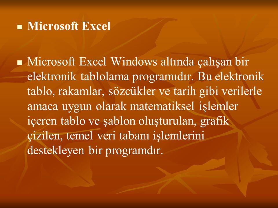   Microsoft Excel   Microsoft Excel Windows altında çalışan bir elektronik tablolama programıdır. Bu elektronik tablo, rakamlar, sözcükler ve tari