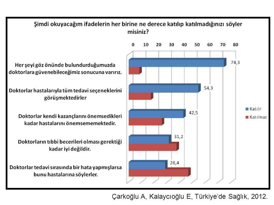 Çarkoğlu A, Kalaycıoğlu E, Türkiye'de Sağlık, 2012.
