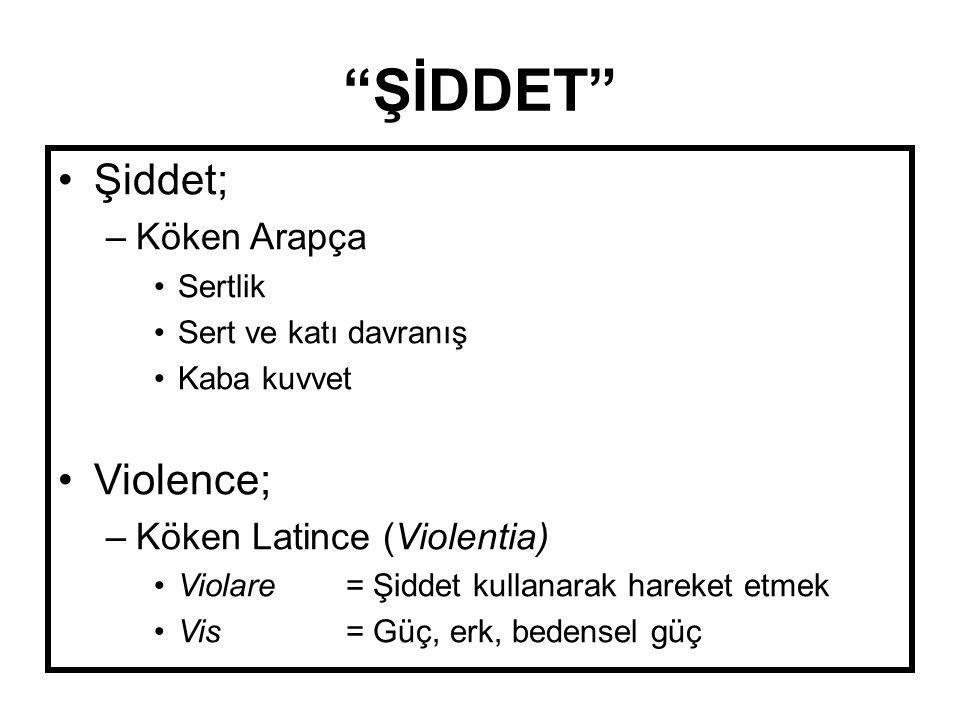 """""""ŞİDDET"""" •Şiddet; –Köken Arapça •Sertlik •Sert ve katı davranış •Kaba kuvvet •Violence; –Köken Latince (Violentia) •Violare = Şiddet kullanarak hareke"""