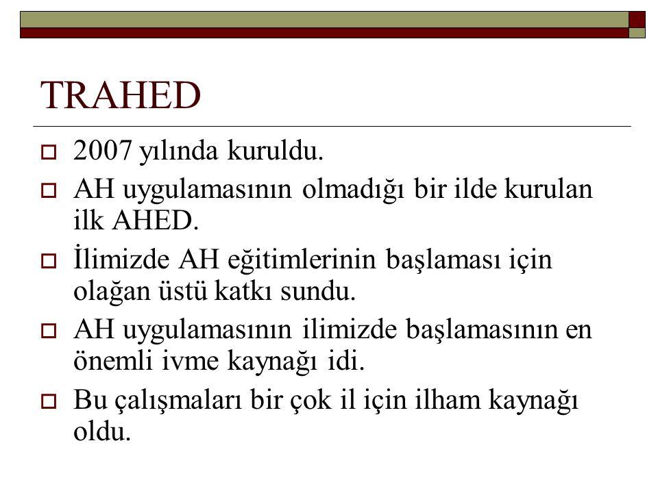 TRAHED  2007 yılında kuruldu. AH uygulamasının olmadığı bir ilde kurulan ilk AHED.
