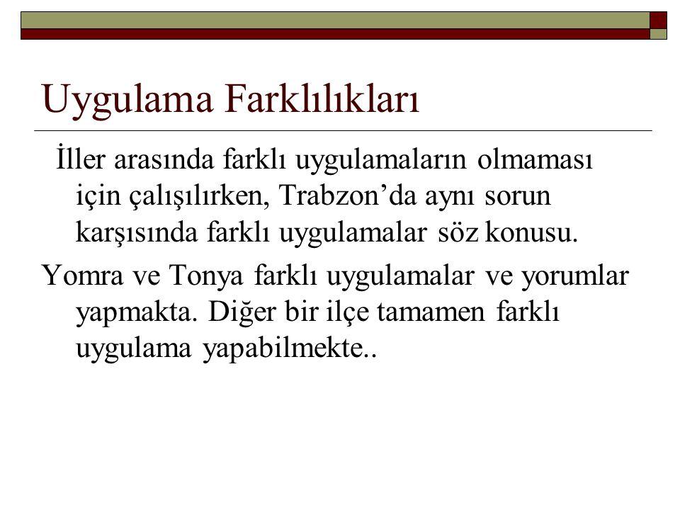 Uygulama Farklılıkları İller arasında farklı uygulamaların olmaması için çalışılırken, Trabzon'da aynı sorun karşısında farklı uygulamalar söz konusu.