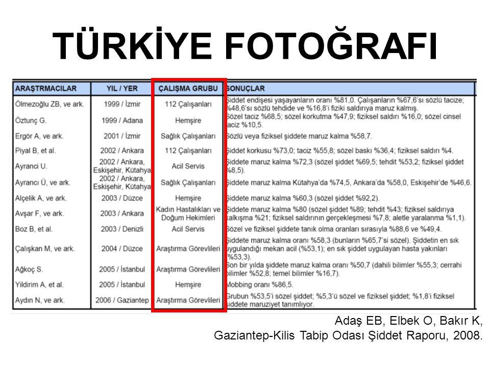 TÜRKİYE FOTOĞRAFI Adaş EB, Elbek O, Bakır K, Gaziantep-Kilis Tabip Odası Şiddet Raporu, 2008.