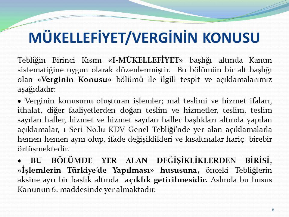 İSTİSNALAR/DİPLOMATİK İSTİSNA  Diplomatik Temsilcilik ve Konsolosluklara Yapılacak Teslim ve Hizmetlerde İstisna 3065 sayılı KDV Kanununun 15/1-a maddesine göre, karşılıklı olmak kaydıyla, yabancı devletlerin Türkiye deki diplomatik temsilciliklerine, konsolosluklarına yapılan teslim ve hizmetler vergiden istisnadır.