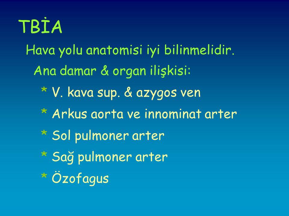 TBİA Hava yolu anatomisi iyi bilinmelidir.Ana damar & organ ilişkisi: * V.