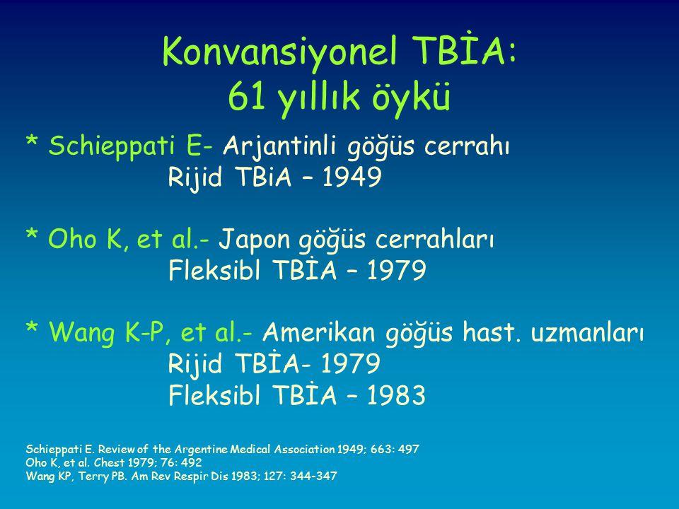 Konvansiyonel TBİA: 61 yıllık öykü * Schieppati E- Arjantinli göğüs cerrahı Rijid TBiA – 1949 * Oho K, et al.- Japon göğüs cerrahları Fleksibl TBİA – 1979 * Wang K-P, et al.- Amerikan göğüs hast.
