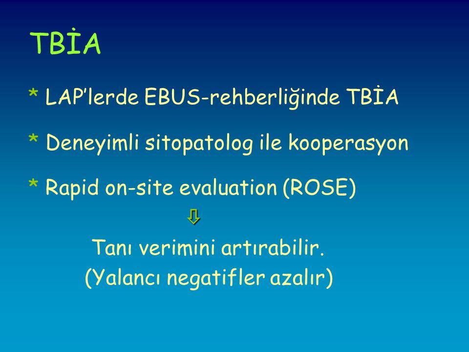 TBİA * LAP'lerde EBUS-rehberliğinde TBİA * Deneyimli sitopatolog ile kooperasyon * Rapid on-site evaluation (ROSE)  Tanı verimini artırabilir.