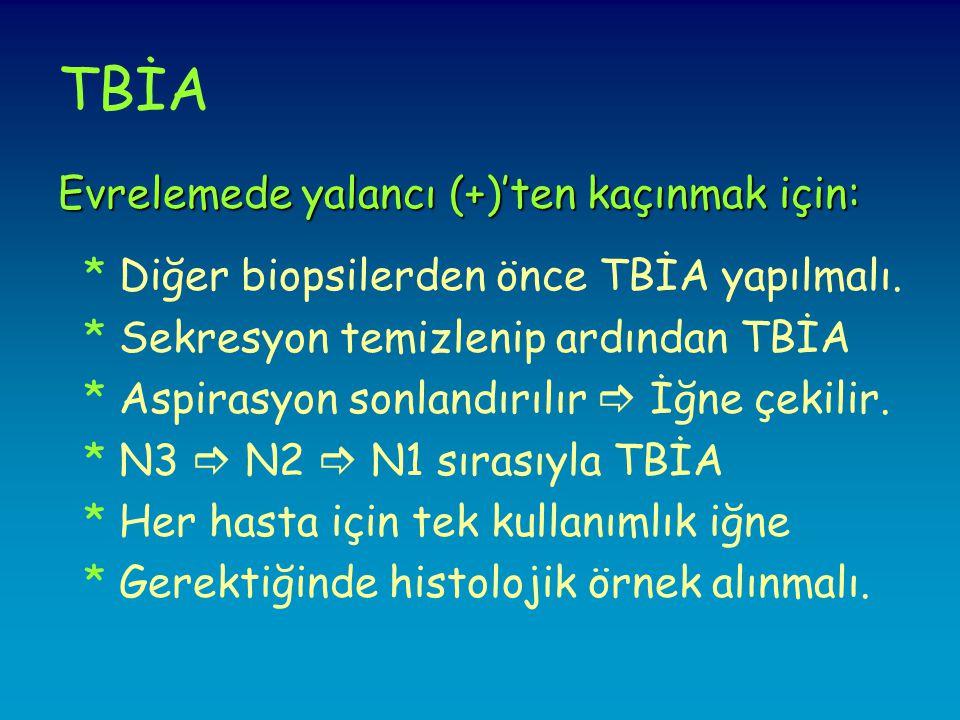 TBİA Evrelemede yalancı (+)'ten kaçınmak için: * Diğer biopsilerden önce TBİA yapılmalı.