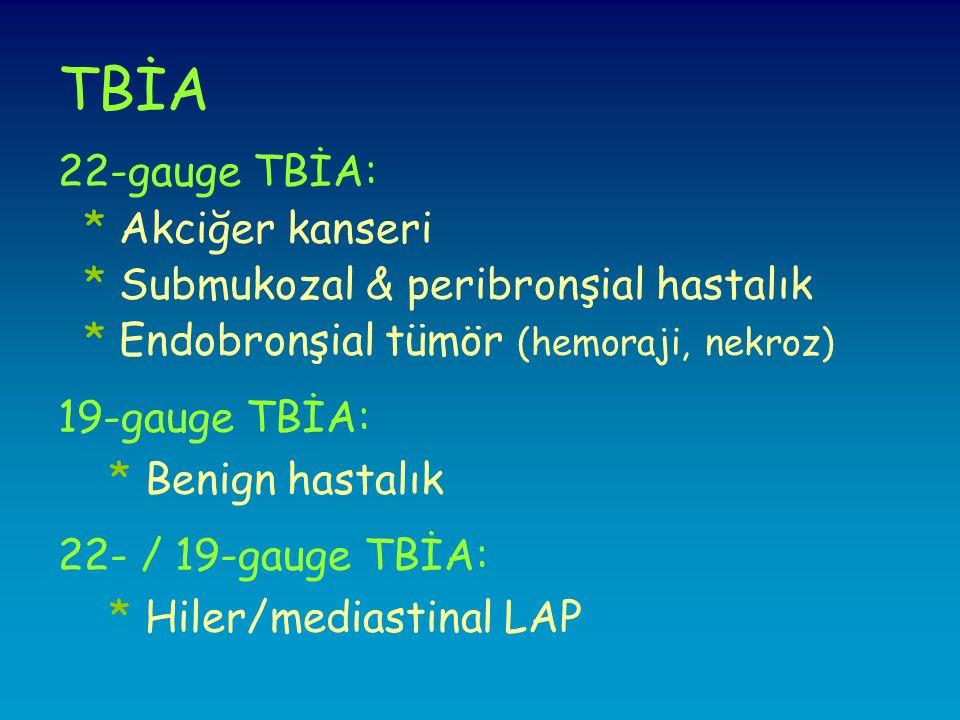 TBİA 22-gauge TBİA: * Akciğer kanseri * Submukozal & peribronşial hastalık * Endobronşial tümör (hemoraji, nekroz) 19-gauge TBİA: * Benign hastalık 22- / 19-gauge TBİA: * Hiler/mediastinal LAP