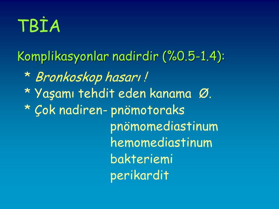 TBİA Komplikasyonlar nadirdir (%0.5-1.4): * Bronkoskop hasarı .