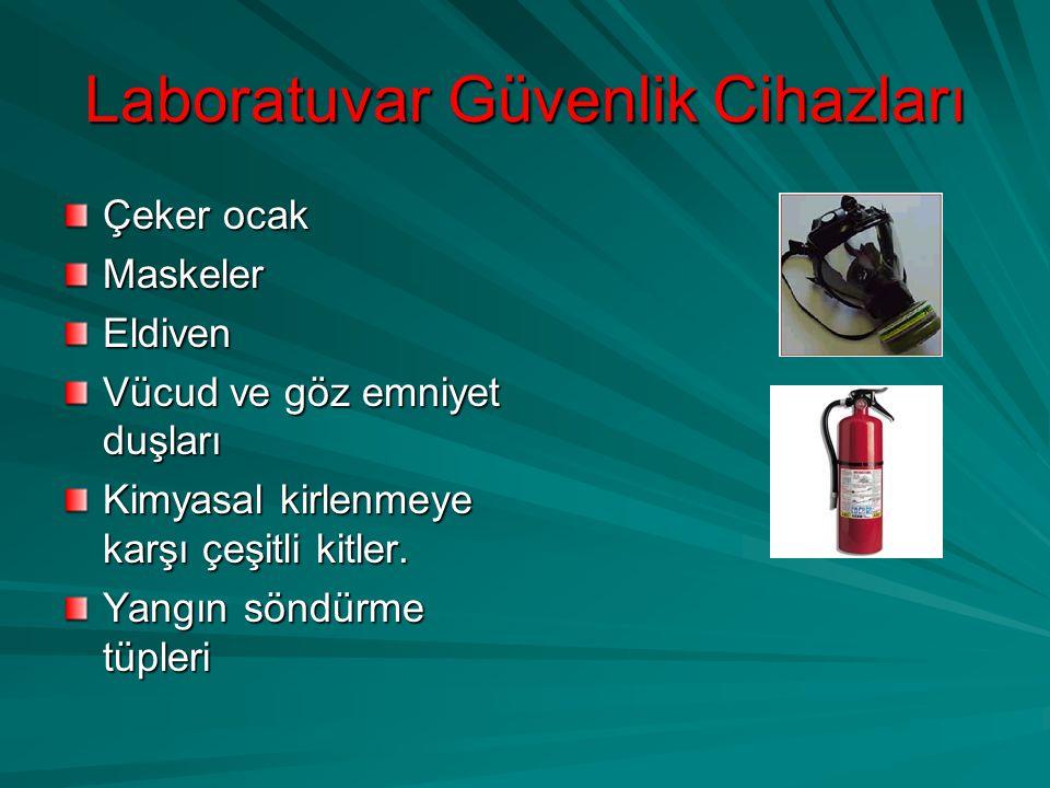 Laboratuvar Güvenlik Cihazları Çeker ocak MaskelerEldiven Vücud ve göz emniyet duşları Kimyasal kirlenmeye karşı çeşitli kitler. Yangın söndürme tüple