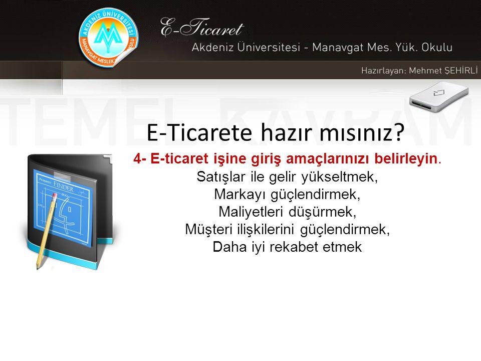 E-Ticarete hazır mısınız.4- E-ticaret işine giriş amaçlarınızı belirleyin.