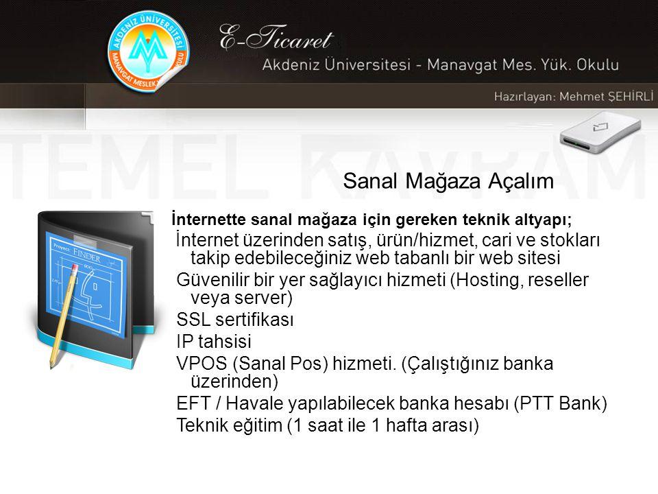Sanal Mağaza Açalım İnternette sanal mağaza için gereken teknik altyapı; İnternet üzerinden satış, ürün/hizmet, cari ve stokları takip edebileceğiniz web tabanlı bir web sitesi Güvenilir bir yer sağlayıcı hizmeti (Hosting, reseller veya server) SSL sertifikası IP tahsisi VPOS (Sanal Pos) hizmeti.