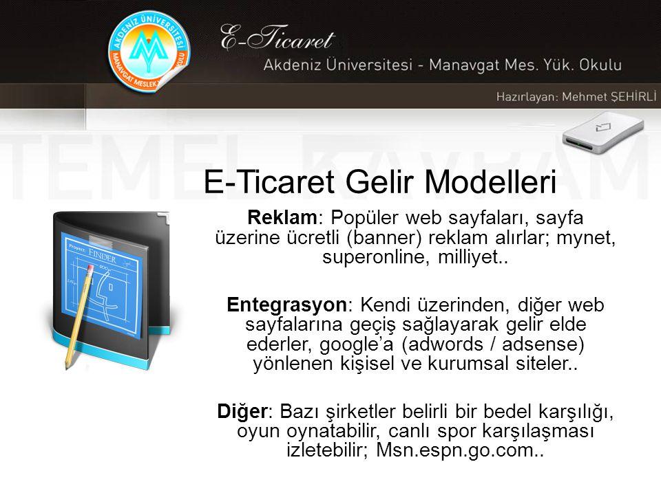 E-Ticaret Gelir Modelleri Reklam: Popüler web sayfaları, sayfa üzerine ücretli (banner) reklam alırlar; mynet, superonline, milliyet..