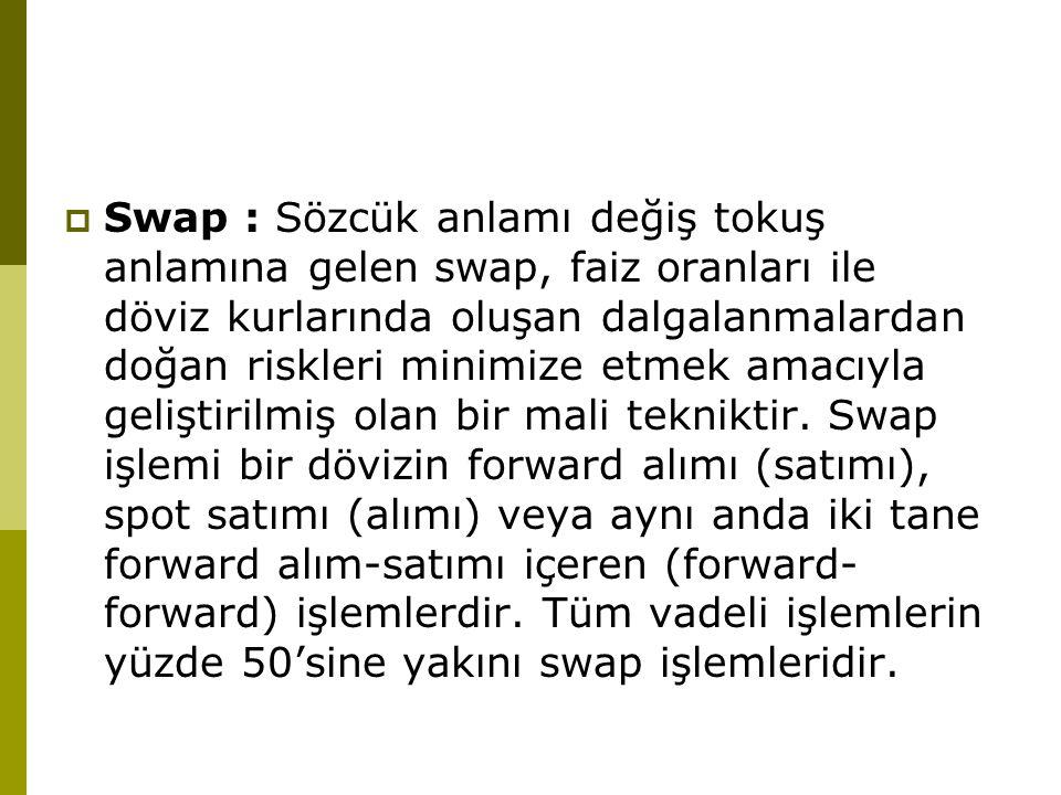  Swap : Sözcük anlamı değiş tokuş anlamına gelen swap, faiz oranları ile döviz kurlarında oluşan dalgalanmalardan doğan riskleri minimize etmek amacı