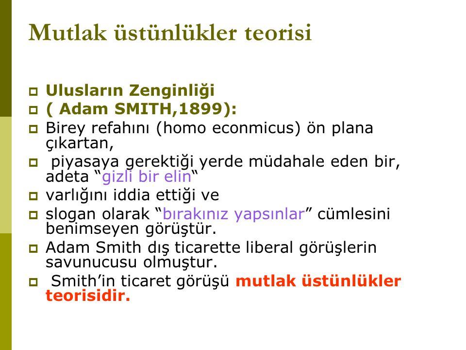Mutlak üstünlükler teorisi  Ulusların Zenginliği  ( Adam SMITH,1899):  Birey refahını (homo econmicus) ön plana çıkartan,  piyasaya gerektiği yerd