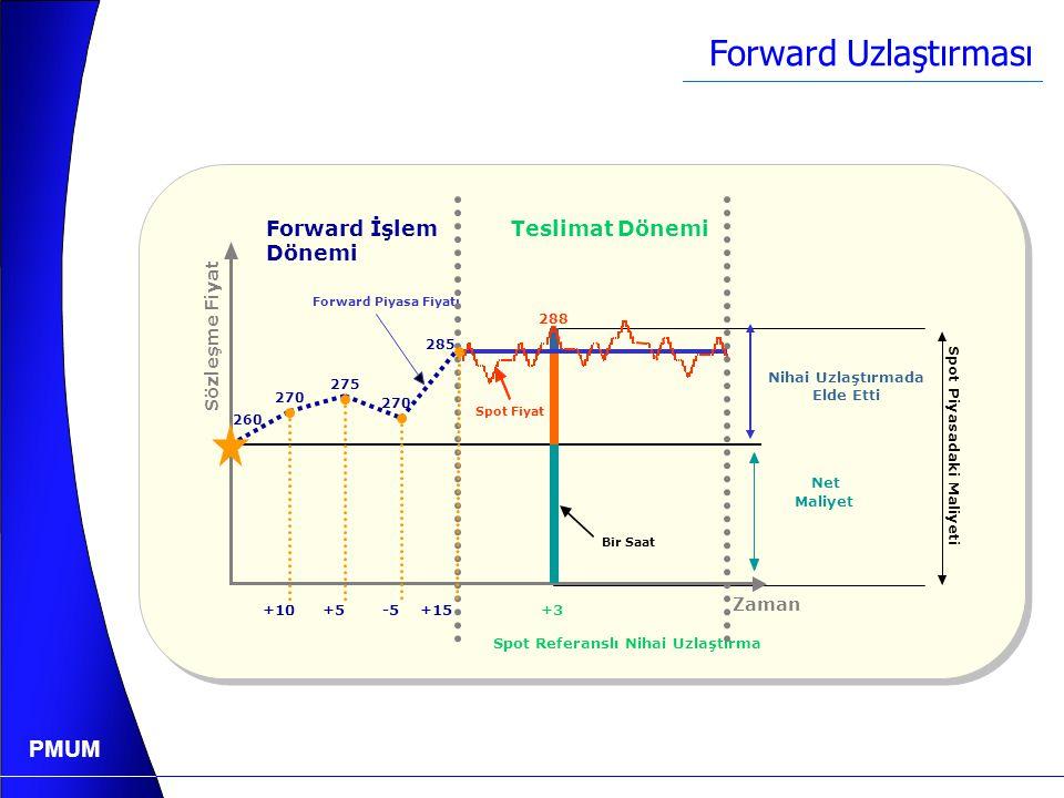 PMUM Futures Uzlaştırması 260 270 275 +10+5 -5 +15 Günlük Netleştirme Uzlaştırması Nihai Uzlaştırma Futures İşlem Dönemi Teslimat Dönemi Spot Fiyat Za