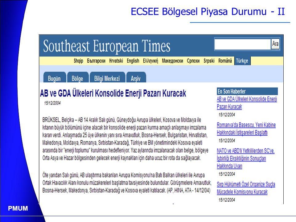 PMUM ECSEE Bölgesel Piyasa Durumu - I  UCTE Üye Ülkeler: - Eski Üye Ülkeler (UCTE 2. Zone) - Slovenya - Hırvatistan - Sırbistan - Montenegro - Makedo