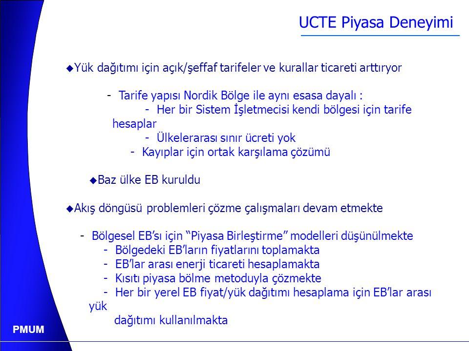 PMUM Sınır Ticareti / UCTE  UCTE'de İletim Hakkı açık ihalesi çoğunlukla kullanılır.  Piyasa bölünme kullanılmıyor, ancak ilgi var.  UCTE'e bağlı S