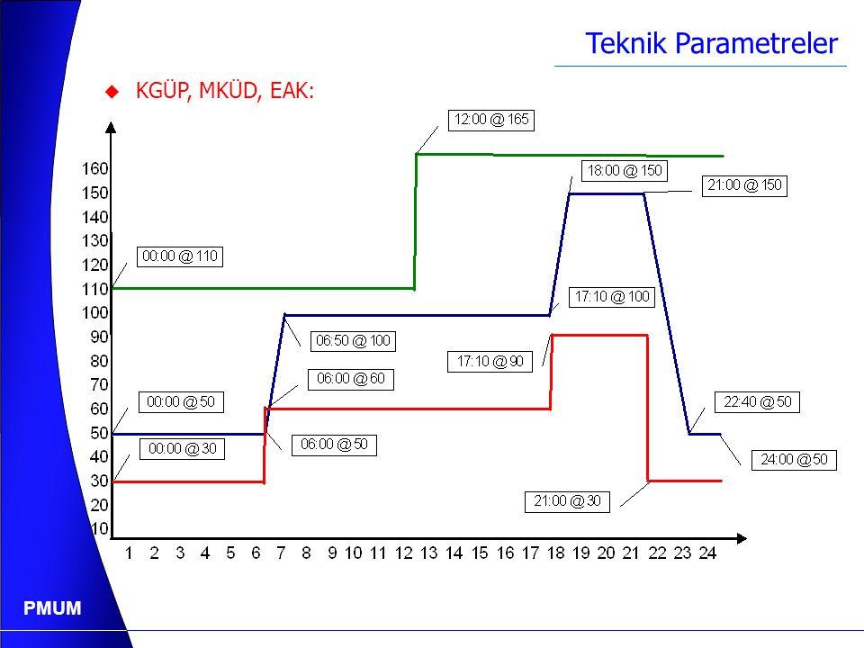 PMUM Teknik Parametreler  Emreamade Kapasite : Başlangıç Zamanı Başlangıç Seviyesi 00:00110 12:00165
