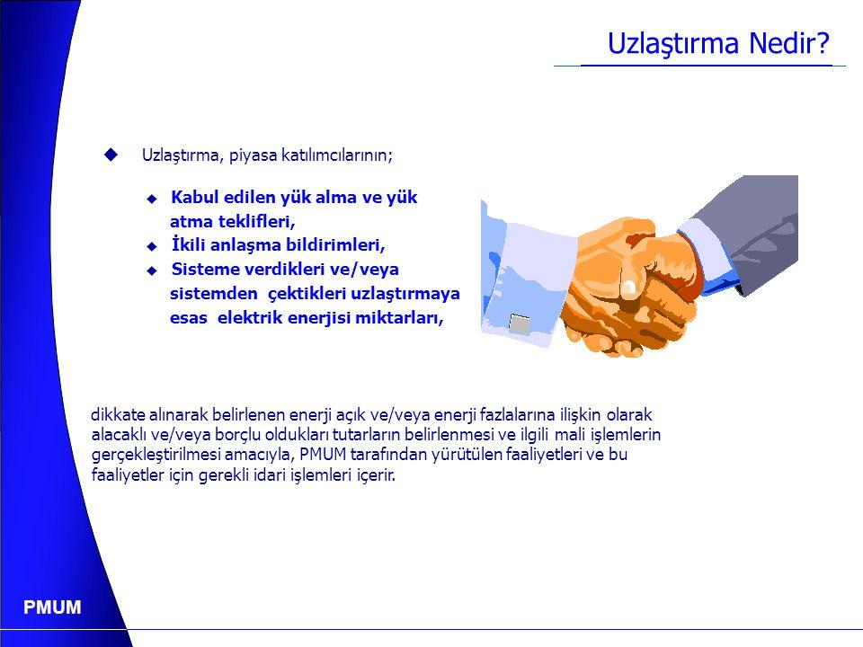 PMUM Mali Uzlaştırma Esasları Ve Uygulamaları 2.1) Mali Uzlaştırmanın Temel Prensibi 2.2) Katılımcılar 2.3) İkili Anlaşmalar 2.4) Yedek Tedarik 2.5) İletim ve Dağıtım Sistemi Kayıpları Uygulaması 2.6) Ölçüm 2.7) Mali Uzlaştırmanın Gerçekleştirilmesi