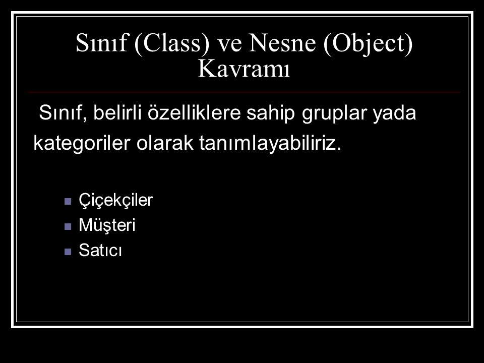 Sınıf (Class) ve Nesne (Object) Kavramı Sınıf, belirli özelliklere sahip gruplar yada kategoriler olarak tanımlayabiliriz.