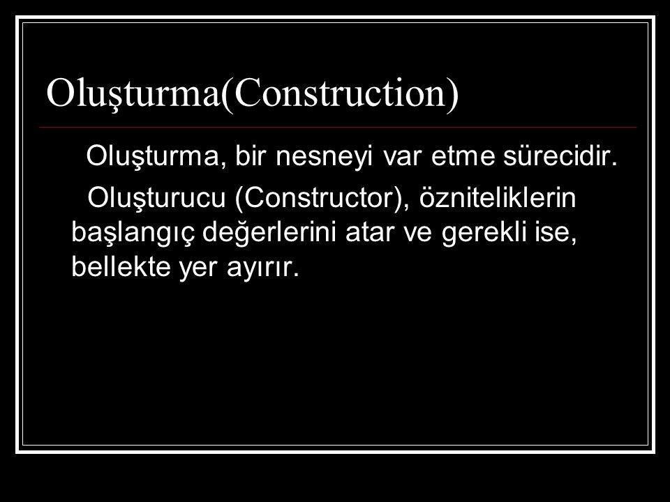 Oluşturma(Construction) Oluşturma, bir nesneyi var etme sürecidir.