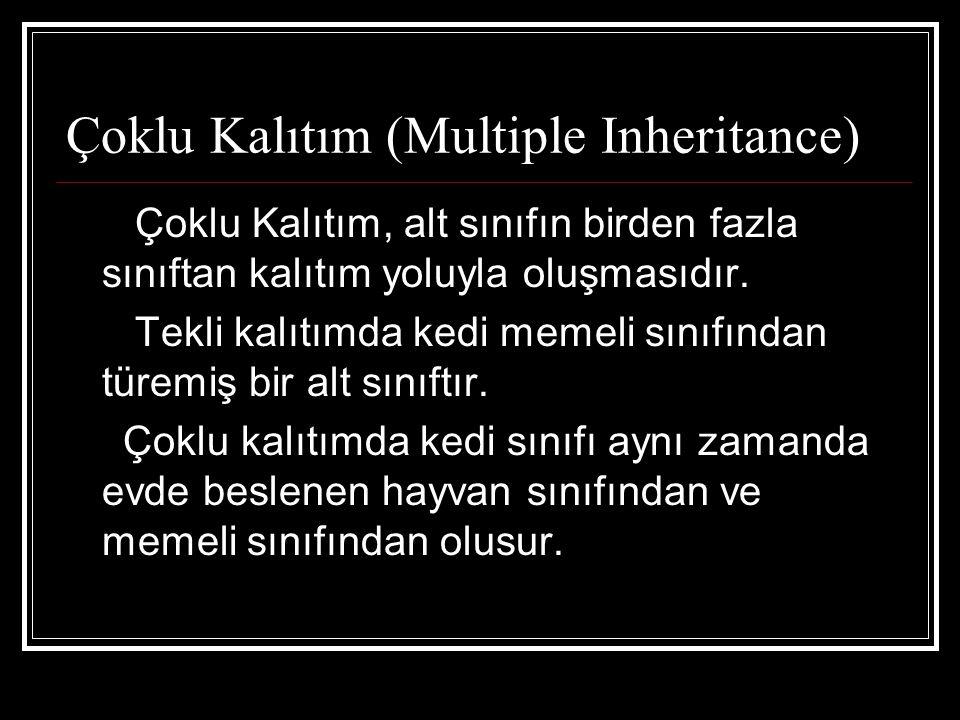 Çoklu Kalıtım (Multiple Inheritance) Çoklu Kalıtım, alt sınıfın birden fazla sınıftan kalıtım yoluyla oluşmasıdır.