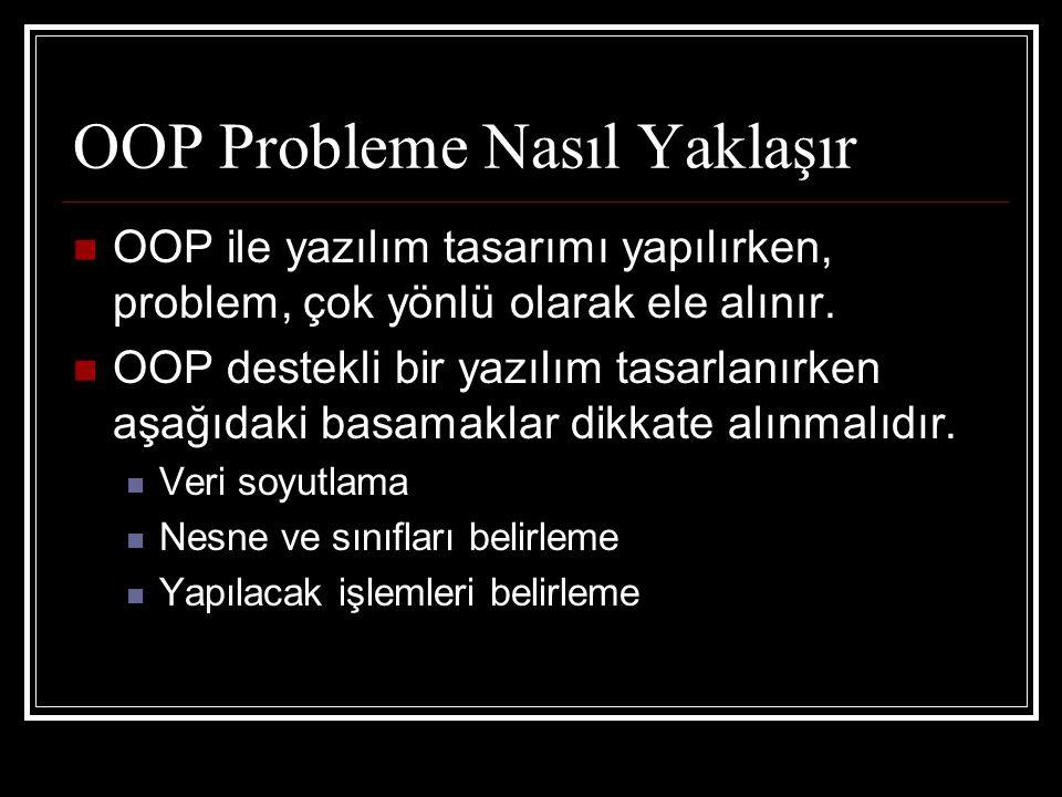 OOP Probleme Nasıl Yaklaşır  OOP ile yazılım tasarımı yapılırken, problem, çok yönlü olarak ele alınır.