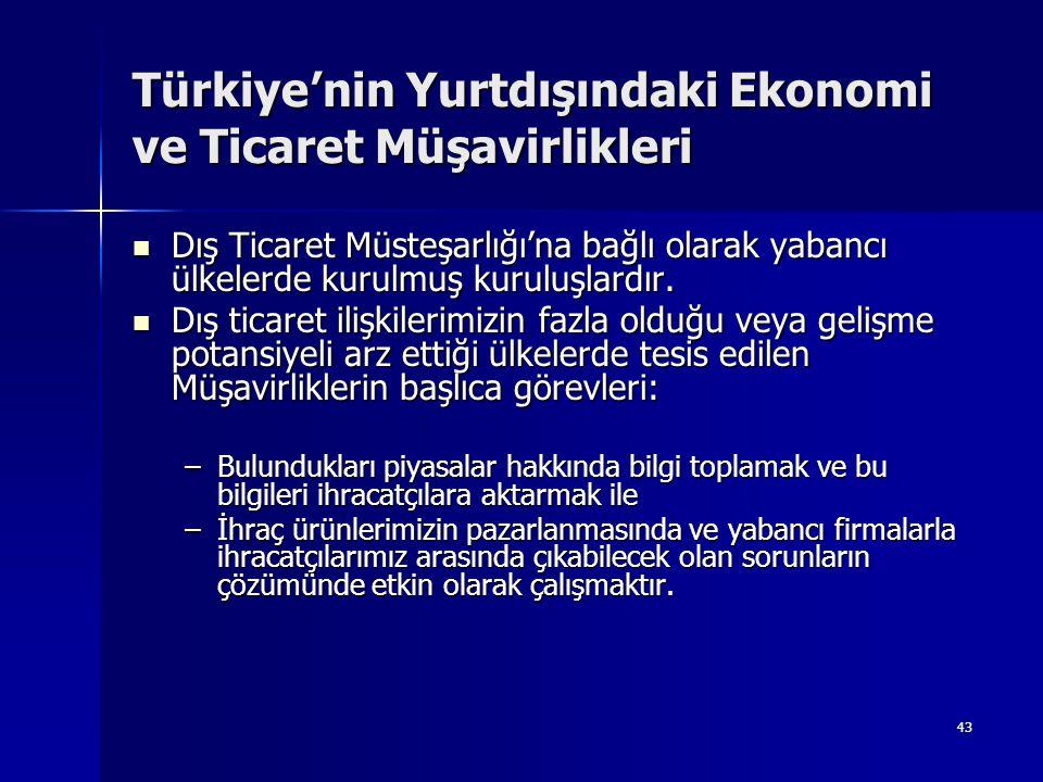 43 Türkiye'nin Yurtdışındaki Ekonomi ve Ticaret Müşavirlikleri  Dış Ticaret Müsteşarlığı'na bağlı olarak yabancı ülkelerde kurulmuş kuruluşlardır. 