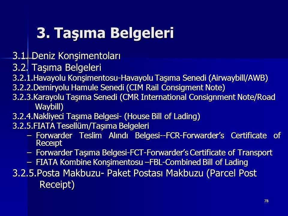 78 3. Taşıma Belgeleri 3.1. Deniz Konşimentoları 3.2. Taşıma Belgeleri 3.2.1.Havayolu Konşimentosu-Havayolu Taşıma Senedi (Airwaybill/AWB) 3.2.2.Demir