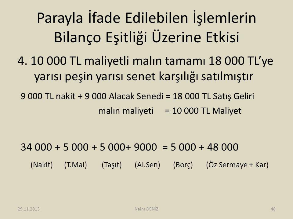 Parayla İfade Edilebilen İşlemlerin Bilanço Eşitliği Üzerine Etkisi 4. 10 000 TL maliyetli malın tamamı 18 000 TL'ye yarısı peşin yarısı senet karşılı