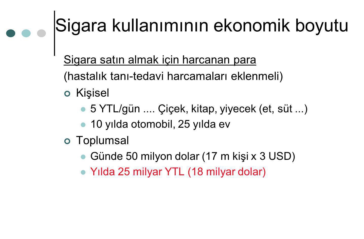 Sigara kullanımının ekonomik boyutu Sigara satın almak için harcanan para (hastalık tanı-tedavi harcamaları eklenmeli) Kişisel  5 YTL/gün.... Çiçek,